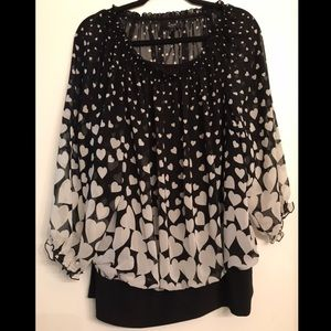 Alfani Black & White Heart Ombré Blouse size 1x